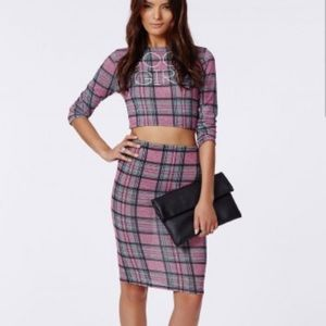 Missguided Feona Jersey Checked Midi Skirt